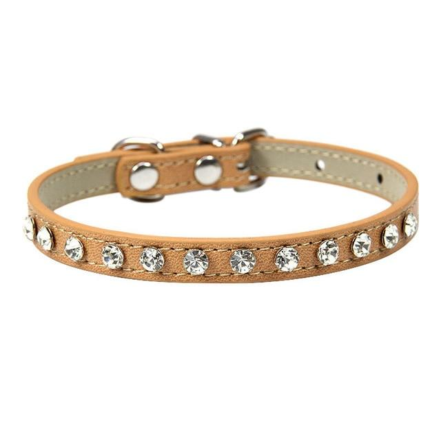 12 Colors Bling Bling Rhinestone PU Leather Cat Collar