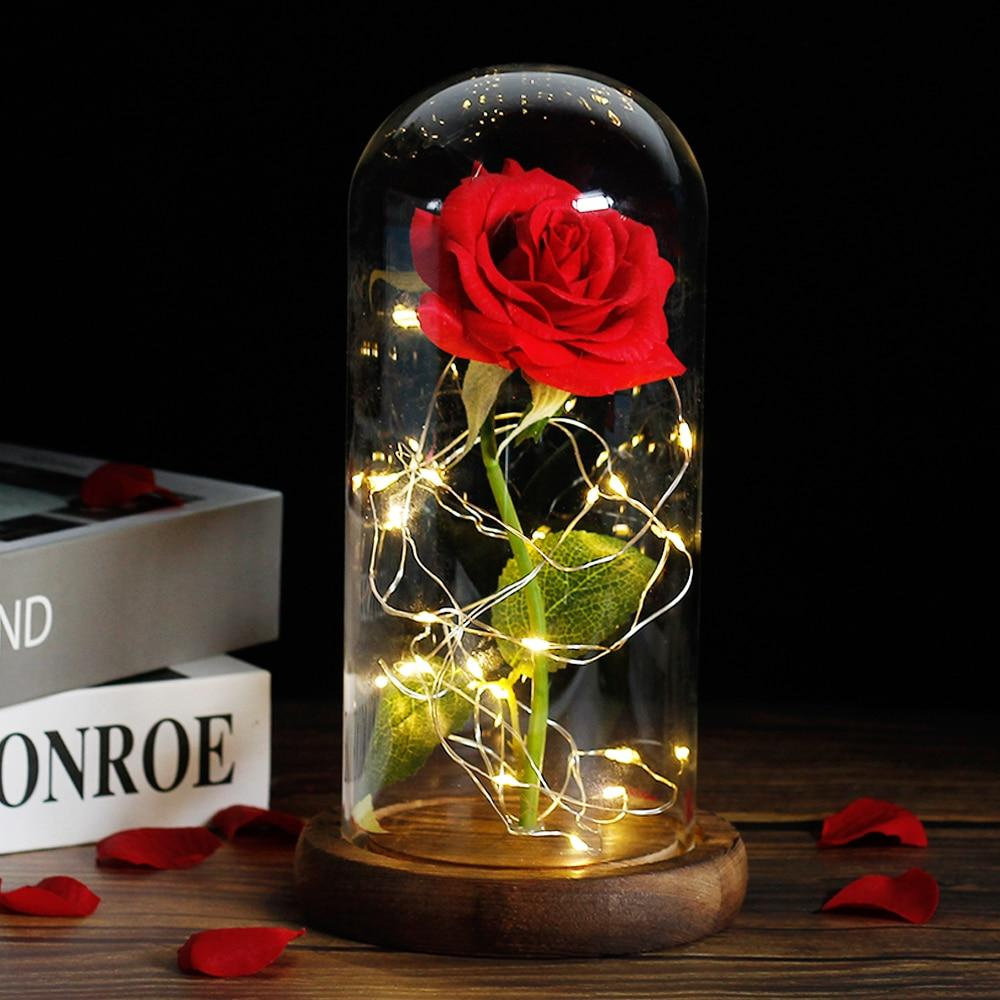 Beauty And The Beast Rose In LED Glass Dome Love Accessories
