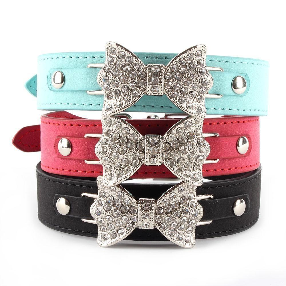 Bling Bling Crystal Bow Leather Pet Collar