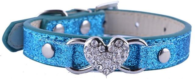 Fashion Glitter Heart Small Dog Collar