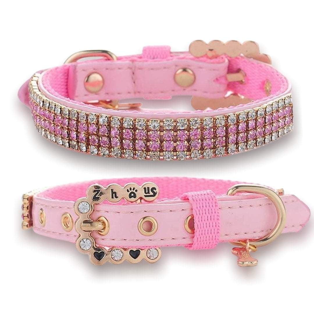 Full Pink Bling Rhinestones Leather Collars
