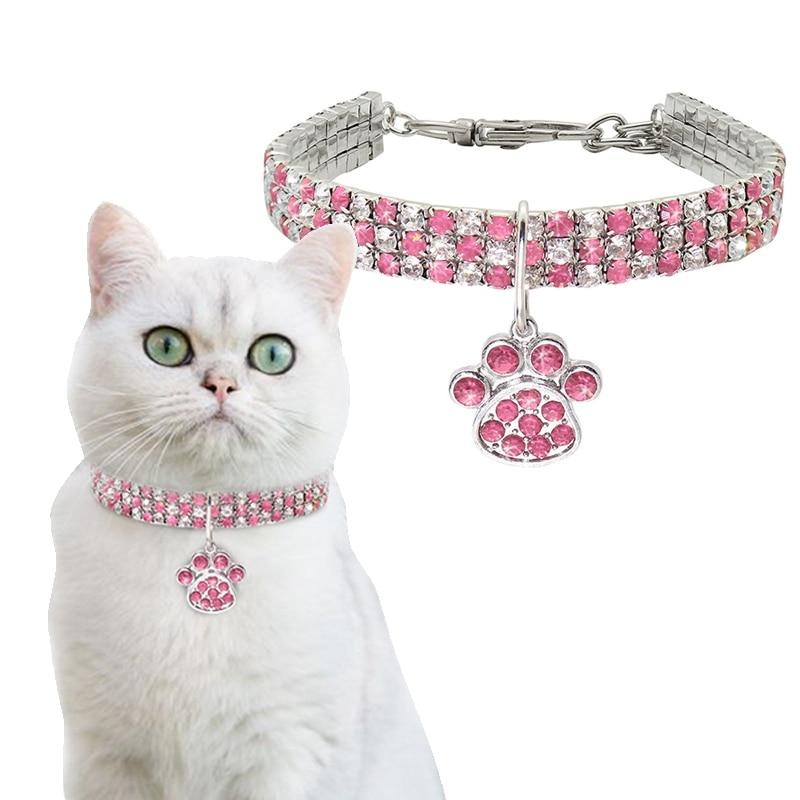 Rhinestone Cute Cat Bling Collar