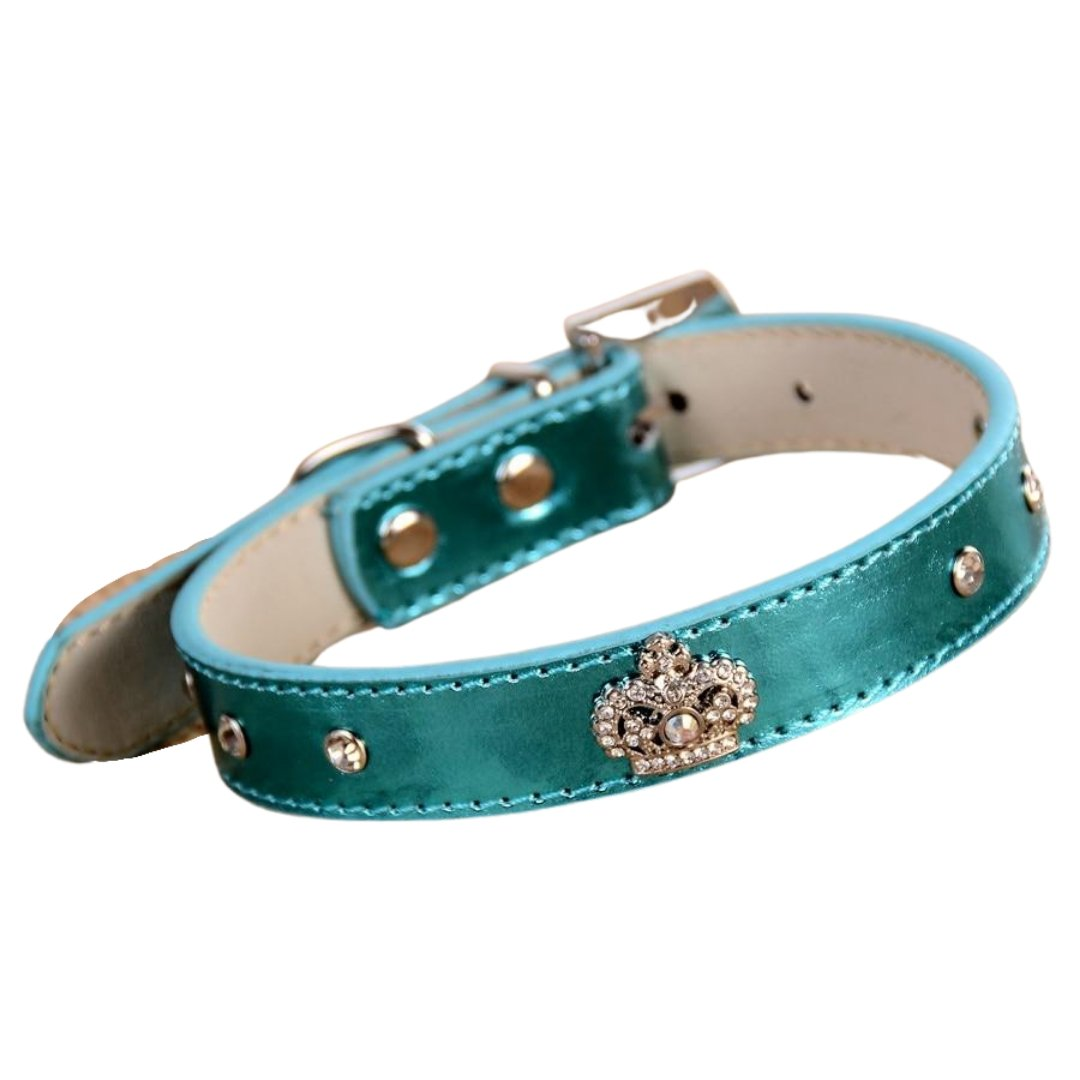 Royal Rhinestone Buckle Leather Collar