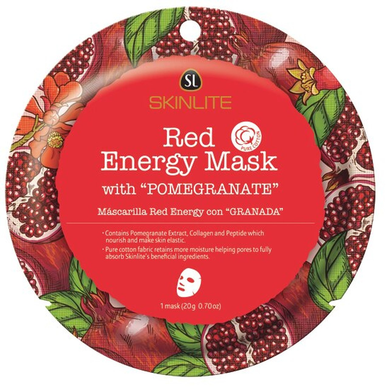 SKINLITE - Red Energy Mask with Pomegranate