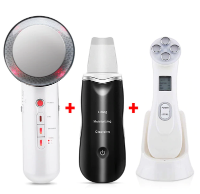 Ultrasonic Skin Scrubber LED Light Facial Massager Body Slimming Fat Burner iciCosmetic™