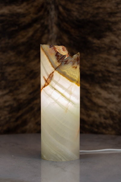 Cylinder shape table lamp made from onyx stone