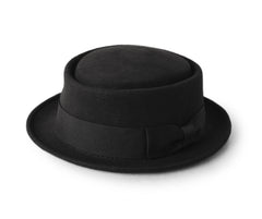 "Black Pork Pie Hat for Men^{""Color"":""Black""}"