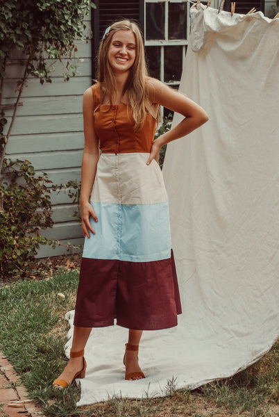 Autumnal Colorblock Tiered Dress