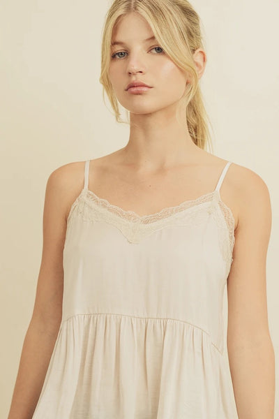 Washed Satin Lace Cami