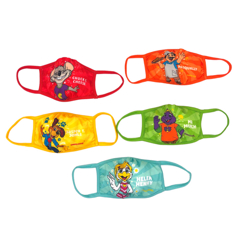 Chuck E. Cheese 5-Pack Character Face Masks for Kids