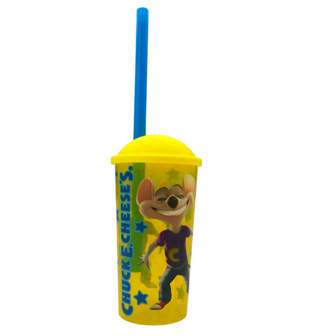 Collectible Chuck E. Cheese Cup with Straw and Lid