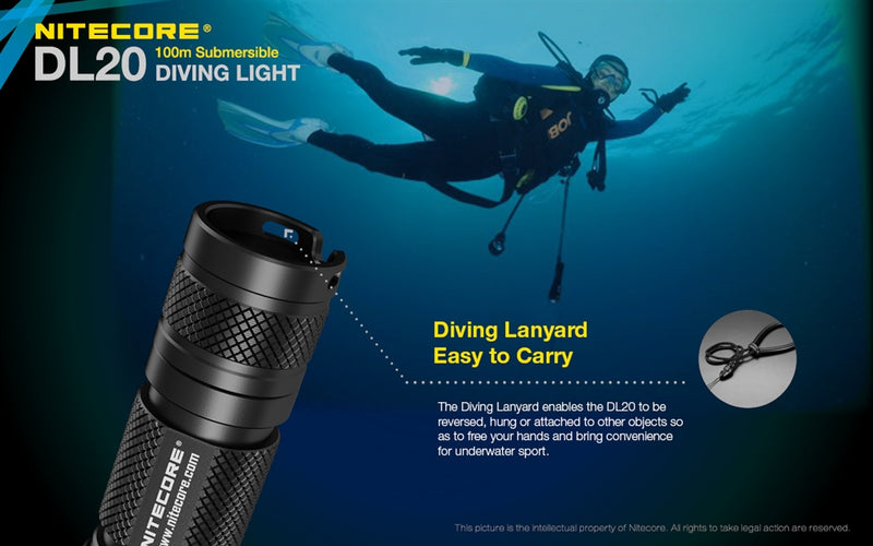 Nitecore DL10 Flashlight Underwater Scuba Sport Diving Light LEDكشاف غوص