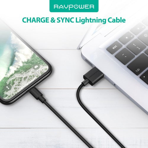 RAVPowe 3-Pack USB Cable with Lightning connector 2m - 1m - 0.2m Black