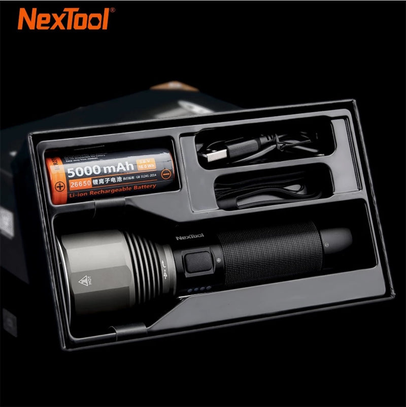 NexTool Rechargeable Flashlight 2000lm 380m 5 Modes IPX7 Waterproof LED light