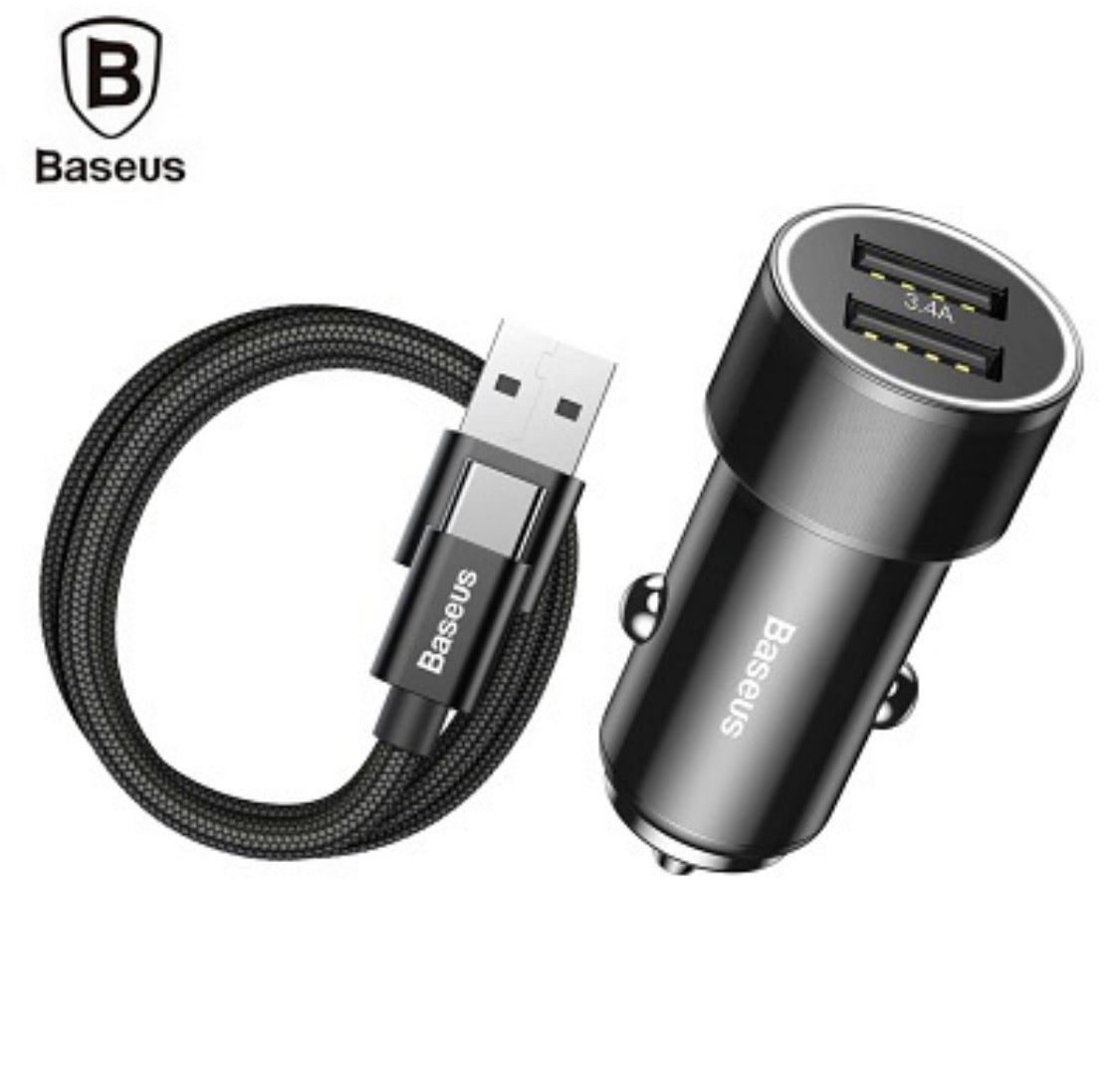 Baseus Small Screw Charging Set Dual USB Car Charger USB to Type C Cable 1M Dual USB 3.4A For Xiaomi Huawei LG G5 Car Charger