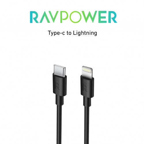 RAVPower  C-Lightning Cable  Charge & Sync 3.3ft 1m-Black
