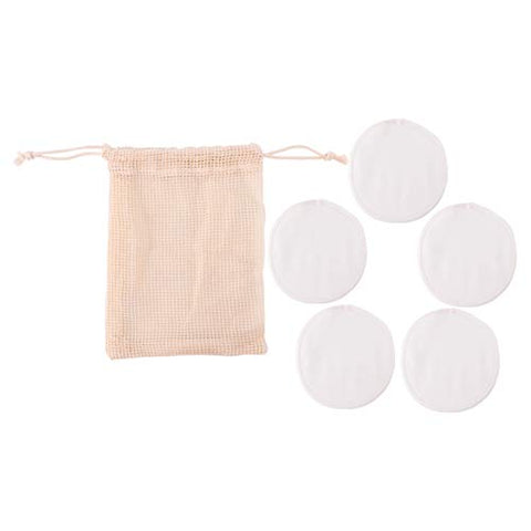 Minkissy 6pcs Reusable Makeup Remover Pads Portable Bamboo Face Cleaning Pads with Storage Bag for Women Girls Face Washing