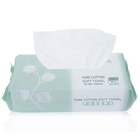 Yousha Pure Cotton Soft Reusable Face Towel, Facial Clean Cotton wipes Large Soft Cotton Dry Tissues(20 x 20 cm) for Sensitive Skin and Baby, Remover Face Eye Makeup (80pcs)