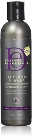 Design Essentials Oat Protein & Henna Deep Cleansing Shampoo For Fuller, Thicker, Stronger, Longer Hair - 8 Oz