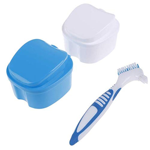 TBoxBo 2pcs Denture Case Teeth Retainer Case with Denture Brush,Mouthguard Container with Hanging Net Container for Travel