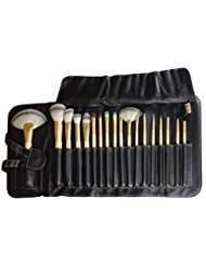 Mieoko 18 Piece Bamboo Makeup Brush Set With Synthetic Taklon Bristles Includes Black Travel Case