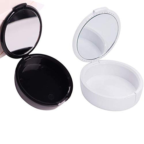 2Pcs Denture Box Retainer Case with Mirror Portable Retainer Denture Box(White and black)