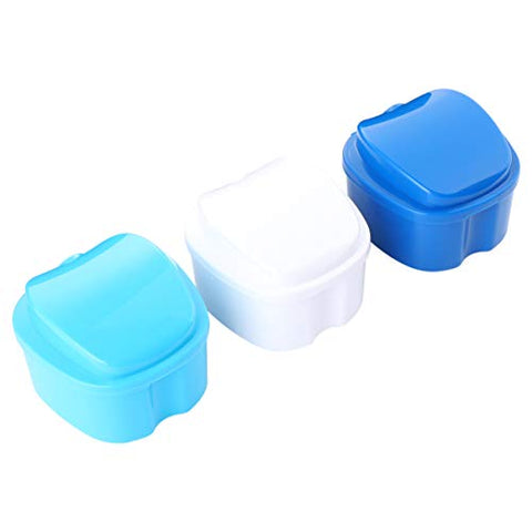EXCEART 3Pcs Denture Case Denture Bath Box Denture Retainer Container False Teeth Retainer Storage Container