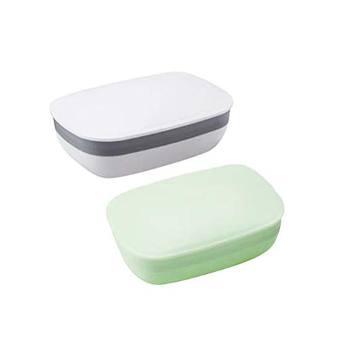 Healifty PP Soap Dish2 Pcs Portable Soap Dish Waterproof Seal Soap Box Lightweight Soap Case Container with Lid for Bathroom Shower Home Outdoor Travel(White + Green)