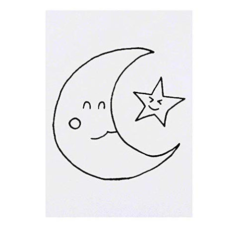 Azeeda Large 'Moon & Star' Temporary Tattoo (TO00016982)