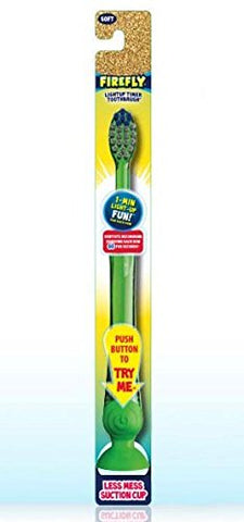 Dr. Fresh Firefly, The Original Flashing Light up Timer Toothbrush for Kids with Suction Cup, Soft Bristles, 1 Minute Timer (Pack of 24)