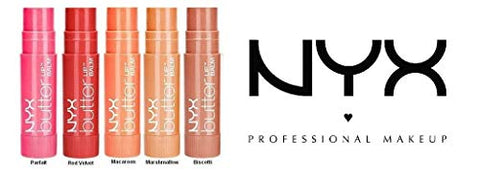 NYX Butter Lip Balm 5-Piece Set Assorted Colors (Parfait, Red Velvet, Macaron, Marshmellow, Biscotti)