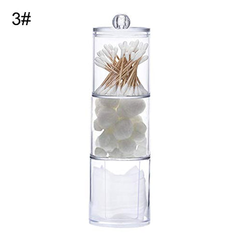 everd1487HH Clear Round Cotton Swabs Pads Balls Storage Box Facial Puffs Cosmetic Organizer,Home Office Multi Use Storage Box-3#