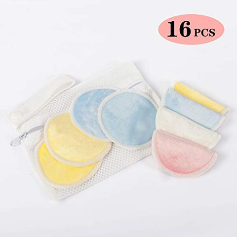 Reusable Makeup Remover Pads 16 PCS/Natural Bamboo Organic Rounds for Face/IncludedWashableLaundry Bag/For All Skin Types