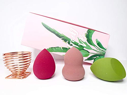 Makeup Sponge Complete set Blender Beauty Foundation Blending Sponge, Free Gold Holder Flawless for Liquid, Cream, and Powder, Multi-colored Makeup Sponges By JM Collection (Pink Box)