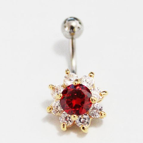 Red Flower Gold Brilliant Curved Belly Button Navel Ring Piercing