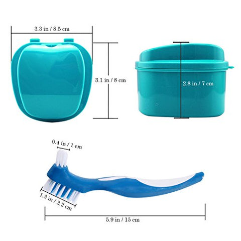 Denture Bath Box Case, Premium False Teeth Storage Box with Hanging Net Container, Mouth Guard Box with Cleaning Brush