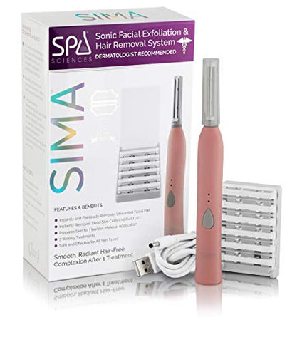 Spa Sciences SIMA Sonic Dermaplaning Tool-Professional & Painless 2 in 1 Facial Exfoliation & Peach Fuzz-Hair Removal System w/ 7 Weeks Treatment Included|Anti-Aging|3 Speeds|Rechargeable