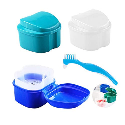 4Pcs Denture Case Bath Box & Cleaner Brush Set (3+1), AUHOKY Premium False Teeth Storage Box with Net Strainer, Mouth Guard Soaking Cup Container Holder for Travel Retainer Cleaning (Mixed Colors)