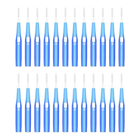 ARTIBETTER 30pcs Interdental Brushes Dental Floss Pick Between Teeth Brush Toothpick Retractable Dental Brushes Cleaner for Personal Health Care 0.7mm blue