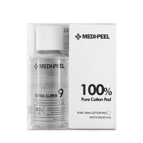 [Medi-Peel] Extra Super 9 and Cotton Pads Kit, 250ml with 40 Cotton Pads | Easy Blackhead Whitehead Care and Pore Tightening Solution