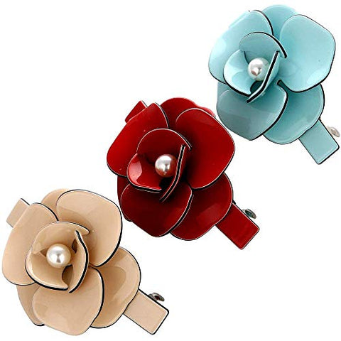 LONEEDY Flower Rhinestone Spring Clip Hair Barrettes Crystal Flower Pearl Hair Clip Fashion Hairpins Hair Grip Holder for Women Girls (Rose?Red + Beige + Blue?)