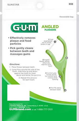 GUM Angled Flossers, Fresh Mint, 75 Count (Pack of 4)