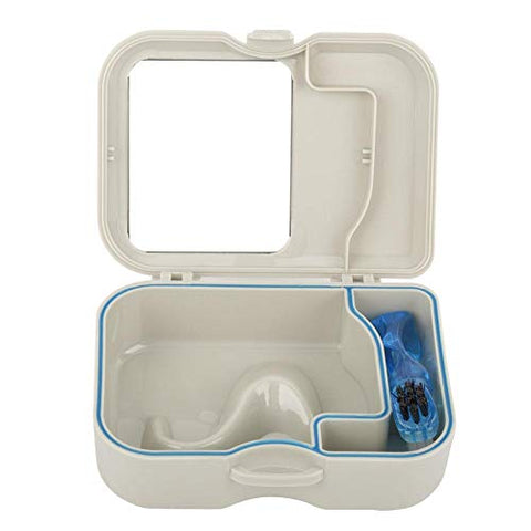 YWBL-WH 1pc Denture False Teeth Storage Box Denture Case with Mirror and Clean Brush Appliance