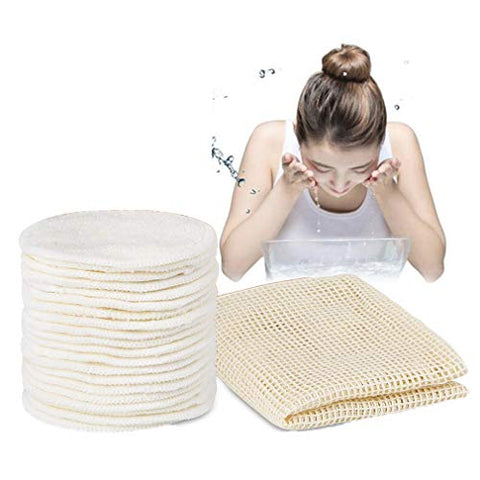 Reusable Makeup Remover Pads, Kemxing 20pcs Organic Reusable Bamboo Fiber Rounds for All Skin Types Washable Natural Face Cleaner Pads Eye Make Up Remover Pads with Cotton Laundry Bag