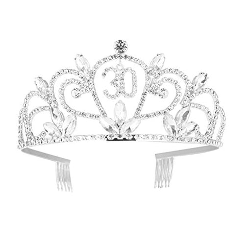 Crystal Tiara Birthday Crown 30th Rhinestone Happy Birthday Tiara