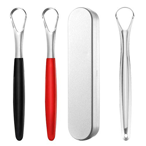 Tongue Scraper Cleaner with Travel Handy Case - Stainless Steel Fresh Breath Tongue Scrapers Metal Tongue Scraping Cleaner for Oral Care, 3 Packs(Red+Black+Sliver) with 1 Metal Box