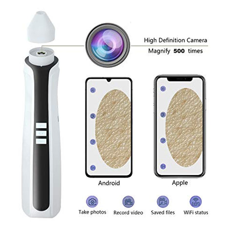 Odear Blackhead Remover Pore Vacuum - Electric Vacuum Facial Pore Cleaner Extractor Tool Device Comedo Rechargeable Removal Suction Beauty Device Magnify 500 times Visible Vacuum(white)