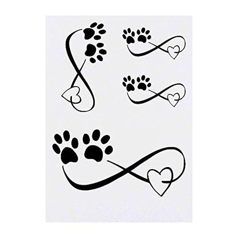Azeeda 4 x 'Infinity Paws' Temporary Tattoos (TO00012777)