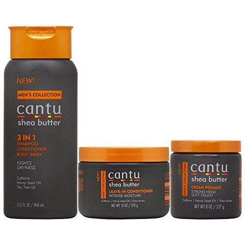 Cantu Men's Hair Care 3 Piece Set (3 In 1 /Leave In Conditioner/Cream Pomade)