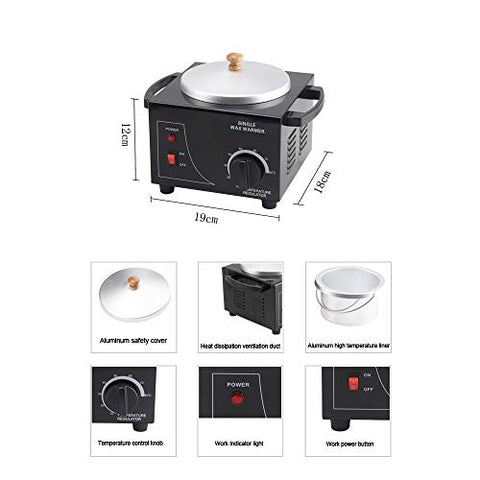 KHXJYC Electric Wax Heater,Single Pot Paraffin Wax Warmer Machine for Depilatory Hair Removal,Beauty Salon Wax Pot for All Wax Types,500CC